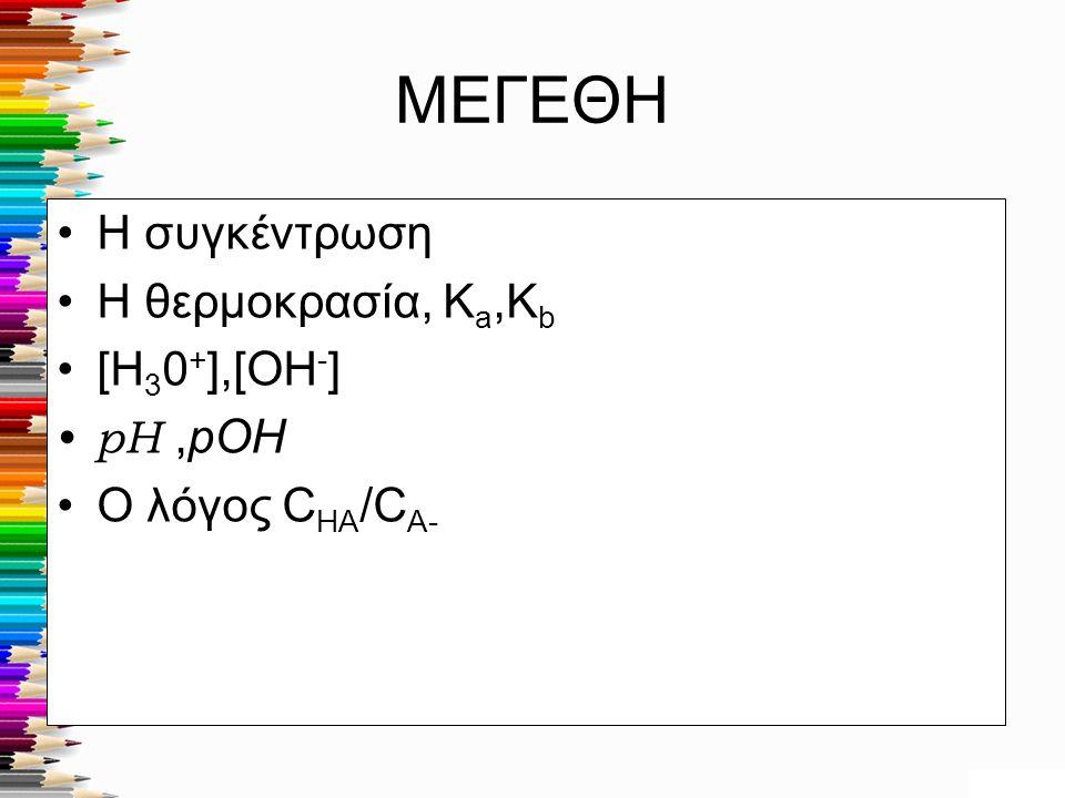 ΜΕΓΕΘΗ Η συγκέντρωση Η θερμοκρασία, Ka,Kb [H30+],[OH-] Ο λόγος CHA/CA-